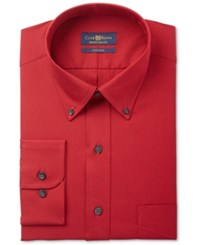 Club Room Men's Estate Classic Regular Fit Wrinkle Resistant Claret Solid Dress Shirt Only At Macy's