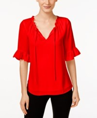 Cece By Cynthia Steffe Short Sleeve Ruffled Blouse Flame