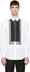 Dolce And Gabbana White Organza Panel Gold Fit Shirt