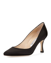 Manolo Blahnik Lisa Satin Almond Toe Pump