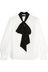 Alice Olivia Treena Pussy Bow Silk Blend Blouse White