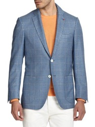 Isaia Checked Silk And Cashmere Blazer Blue