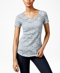 Maison Jules Short Sleeve Lace T Shirt Only At Macy's Halogen Blue