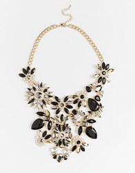 River Island Floral Gem Statement Necklace Metalyellow