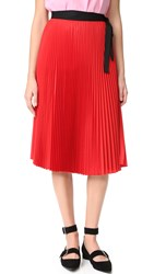 Tome Pleated Wrap Skirt Red