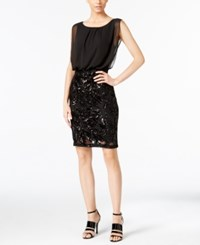 Calvin Klein Sequined Chiffon Contrast Dress Black
