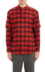 Public School Layered Sleeve Flannel Shirt Red