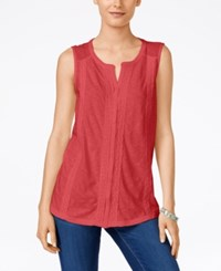 Styleandco. Style And Co. Swiss Dot Button Front Top Only At Macy's Dark Rose