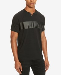 Kenneth Cole Reaction Men's Mixed Media Faux Leather Trim Henley Black