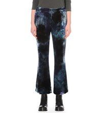 Raquel Allegra Cropped Flared Velvet Trousers Midnight Tie Dye