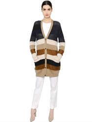 Max Mara Striped Mohair And Cashmere Cardigan