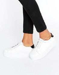 Selected Femme Diana White Leather Platform Trainers White