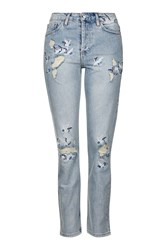 Topshop Moto Embroidered Straight Jeans Bleach Stone