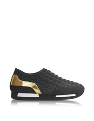 Balmain Maya Black Quilted Neoprene And Gold Metallic Leather Sneaker