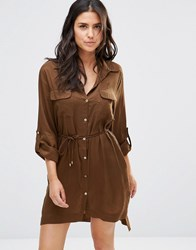 French Connection Beach Shirt Dress Turtle Green
