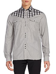 Diesel Plaid And Stripe Western Shirt Black