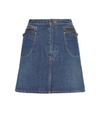 Saint Laurent Denim Miniskirt Blue
