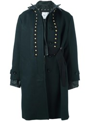 Sacai Leather Trimmed Coat Green