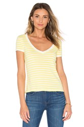 Frame Denim Le Button V Neck Tee Yellow