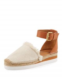 See By Chloe Glyn Canvas And Leather Espadrille Tan Jute Tan Juta Nut