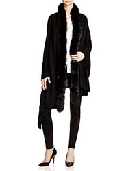 Magaschoni Fox Fur Trim Shawl Black