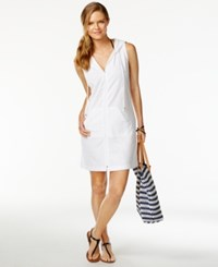 Dotti Textured Zip Front Cover Up Women's Swimsuit White