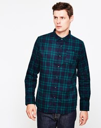 The Idle Man Flannel Check Shirt Green