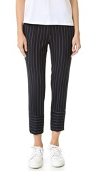 Victoria Beckham Loose Slim Trousers Navy Pinstripe
