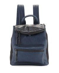French Connection Emma Snake Embossed Flap Top Backpack Phantom