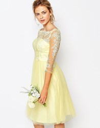 Chi Chi London Bardot Neck Midi Dress With Premium Lace And Tulle Skirt Pastel Yellow