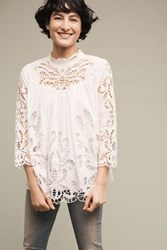 Anthropologie Laced High Neck Blouse White
