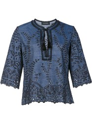 Yigal Azrouel Embroidered Details Blouse Blue