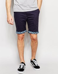 Bellfield Chino Shorts With Contrast Geo Print Turn Up Navy Blue