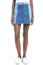 Fire Color Block Denim Skirt Blue