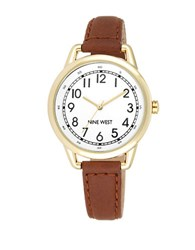 Nine West Ladies Quartz Goldtone Brown Leather Strap Watch