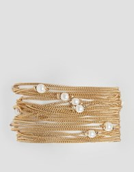 Asos Fine Chain And Faux Pearl Multirow Bracelet Gold