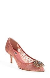 Women's Dolce And Gabbana Pointy Toe Pump Blush Pink Lace
