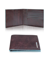 Piquadro Blue Square Genuine Leather Billfold Brown