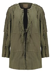 True Religion Leather Jacket Military Green Oliv