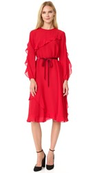 Leur Logette Ruffle Silk Dress Red