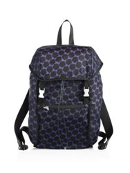 Z Zegna Printed Nylon And Leather Backpack Black