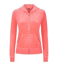 Juicy Couture Filagree Crown Velour Hoodie Female Salmon