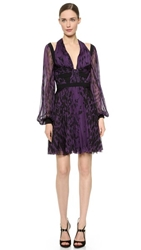 J. Mendel Long Sleeve Pleated Dress Violet