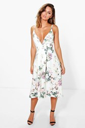 Boohoo Floral Plunge Neck Midi Skater Dress Multi