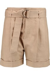 Brunello Cucinelli Canvas Cotton And Linen Blend Shorts Nude