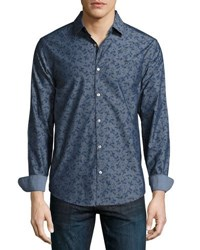 Original Penguin Floral Print Long Sleeve Shirt Blue