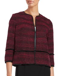 T Tahari Nalia Fringed Tweed Blazer Black Red