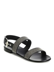 Giuseppe Zanotti Zak Nero Calf Leather Studded Slingback Strap Sandals Black
