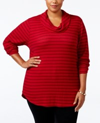 Styleandco. Style Co. Plus Size Cowl Neck Waffle Knit Striped Top Only At Macy's Stripe Red