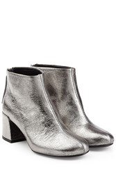 Mcq By Alexander Mcqueen Metallic Leather Pemburry Boots Silver